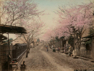Unknown artist: View of a Road with Wooden Houses on the Hill of Noge, Near Yokohama, circa 1900; from the book Japanese Dream, a collection of late-nineteenth-century hand-tinted photographs by Felice Beato and others. It has just been published by Hatje Cantz.