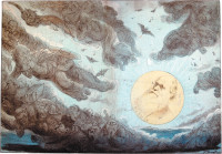 'A Sun of the Nineteenth Century'; cartoon from Puck magazine showing Charles Darwin as a shining sun, chasing the clouds of religion and superstition from the sky, 1882