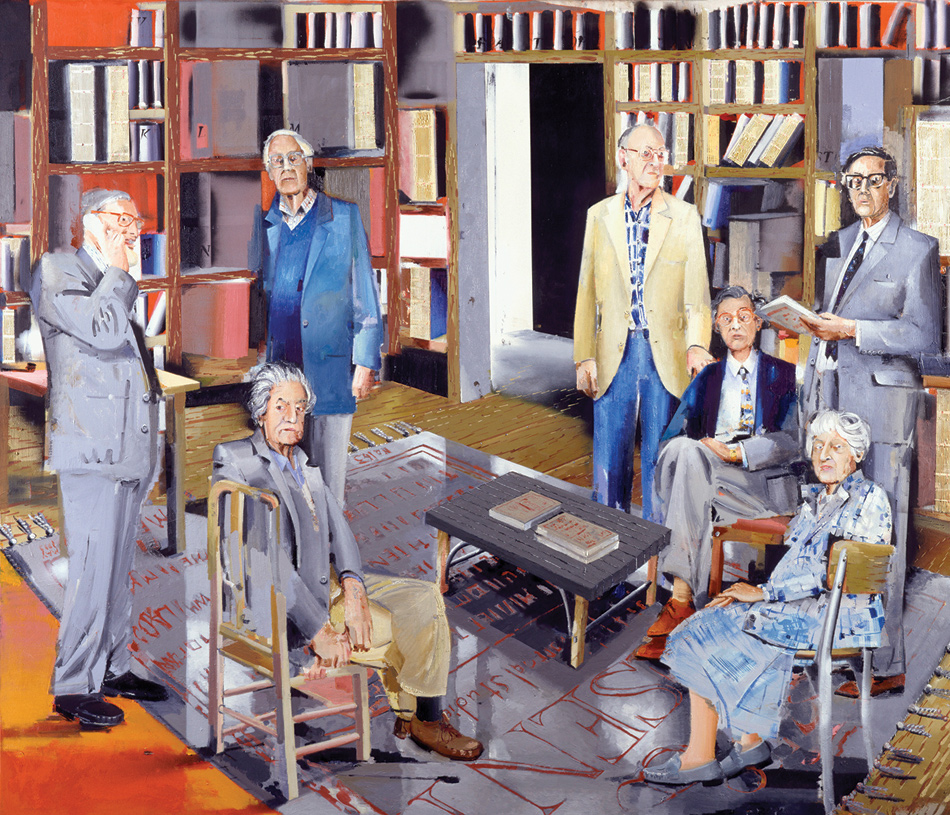Historians of 'Past and Present,' in the National Portrait Gallery, London; painting by Stephen Farthing, 1999. Standing, from left, are Eric Hobsbawm, Rodney Hilton, Lawrence Stone, and Keith Thomas; seated, from left, are Christopher Hill, J.H. Elliott, and Joan Thirsk.