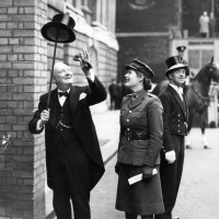 Winston Churchill with his daughter Mary on his way to receive the Freedom of the City of London, June 1943