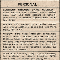 The Personals section from the December 18, 1969 issue of <i>The New York Review</i>