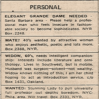 The Personals section from the December 18, 1969 issue of The New York Review