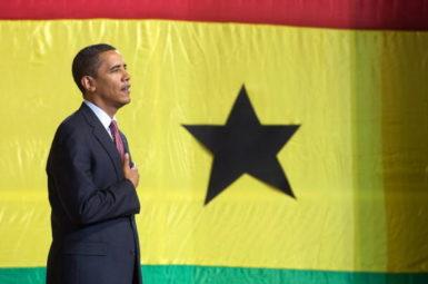 President Barack Obama preparing to address Ghana's parliament, Accra, Ghana, July 11, 2009