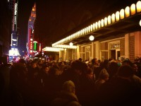 The crowd outside Town Hall, February 5, 2013