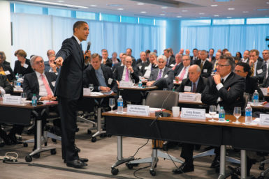 President Obama taking questions from business leaders at the quarterly meeting of the Business Roundtable, Washington, D.C., December 5, 2012