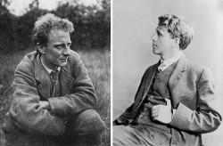 At left, Edward Thomas, Steep, East Hampshire, 1914; at right, Robert Frost, 1913. Frost had moved to England in 1912, and between 1913 and his return to the US in 1915, Helen Vendler writes, he and Thomas 'were as inseparable as they could manage to make themselves.'