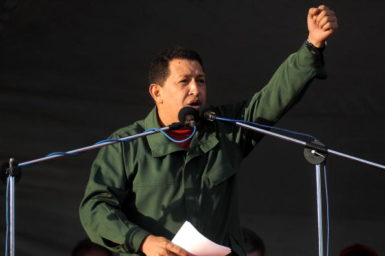 Venezuelan President Hugo Chávez in Montevideo, Uruguay, December, 2009