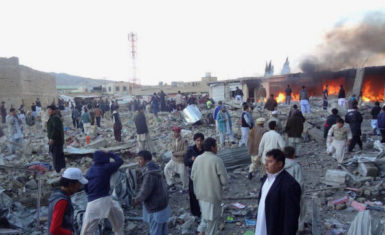 The aftermath of a bomb that killed 84 people at a Shia market in Quetta, Pakistan, February 16, 2013