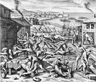 An engraving of the 1622 Virginia Massacre, in which some 330 English colonists were killed by Powhatan Indians in a few hours. Bernard Bailyn writes that the engraving, by the German Matthaeus Merian, 'is a work of the imagination, but it...conveys accurately [the Virginia Company secretary Edward] Waterhouse's sense of the wild frenzy of the attack and the settlers' complete surprise.'