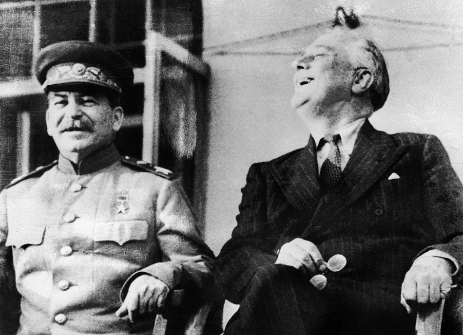 Joseph Stalin and Franklin D. Roosevelt at the Tehran Conference, 1943