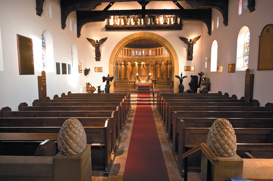 The interior of St. Mary's Church, Wreay, Cumbria, designed by Sarah Losh and built in 1842