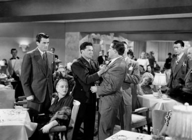Gregory Peck, far left, as a journalist who goes undercover as a Jew for an exposé on anti-Semitism in Elia Kazan's Gentleman's Agreement, 1947. Also pictured are Celeste Holm, John Garfield, and Robert Karnes.