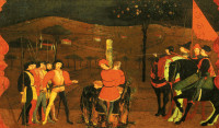 A Jewish merchant and his family being burned at the stake for desecrating the host; from Paolo Uccello's altarpiece for the Confraternity of Corpus Domini, Urbino, 1467–1469