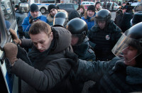 Russian opposition blogger Alexei Navalny being detained in Moscow, December 15, 2012