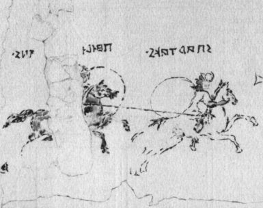 'Spartacus Fresco,' detail, from Pompeii, early first century BC. The rider on the left is thought to be labeled 'Felix the Pompeian' (or 'Lucky from Pompeii') and the other is 'Spartaks' (reading right to left), or 'Spartacus' in Latin