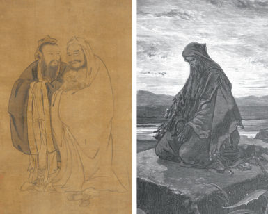 'Confucius and Buddha Cradling a Qilin,' Ming Dynasty (left), and Gustave Doré: Isaiah, 1865 (right)
