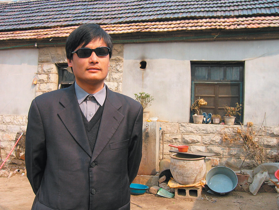 Chen Guangcheng outside his house in Dongshigu village, Shandong province, northeast China, March 2005
