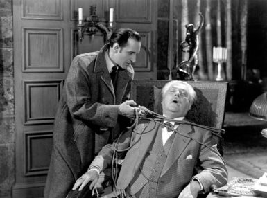 Basil Rathbone as Sherlock Holmes and Nigel Bruce as Dr. Watson in Sherlock Holmes and the House of Fear, 1945