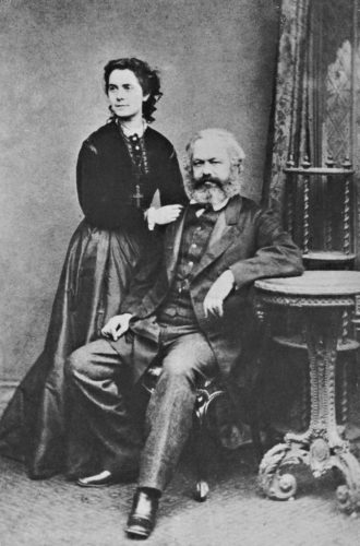 Karl Marx and his daughter Jenny, a left-wing journalist and her father's secretary, in 1869. 'The cross she is wearing,' Jonathan Sperber writes, 'was not a sign of religious affiliation but the symbol of the Polish uprising of 1863.'