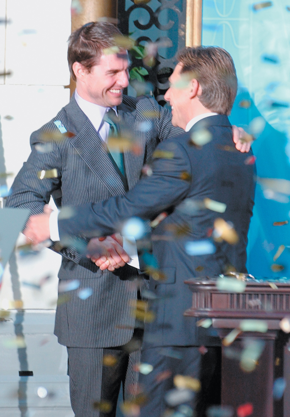 Tom Cruise and David Miscavige, head of the Church of Scientology, at the grand opening of the new Scientology church in Madrid, September 2004