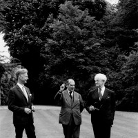 Isaiah Berlin (center) with his friends Stuart Hampshire and Nicolas Nabokov,  Oxford, England, 1969