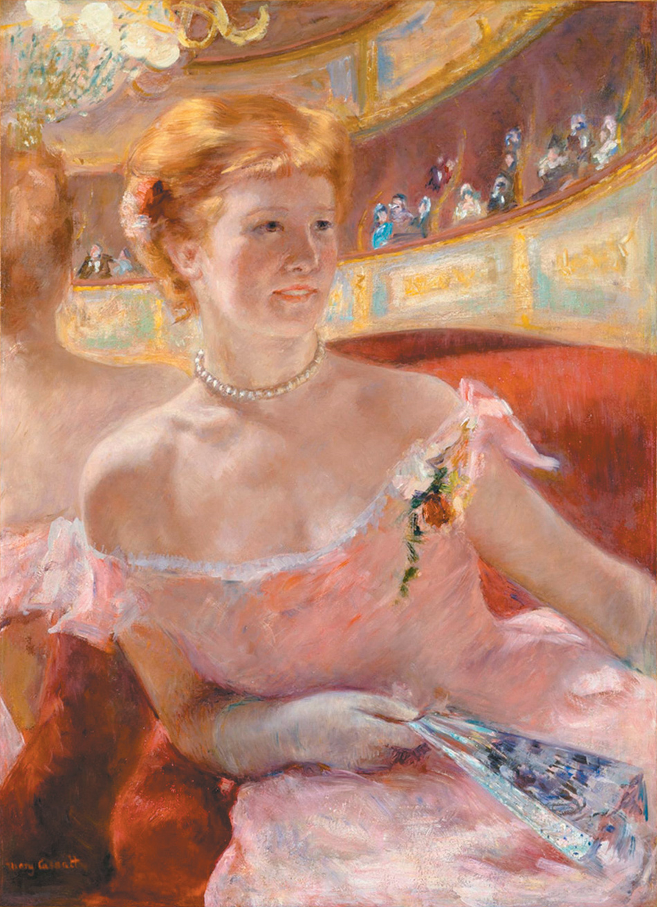 Mary Cassatt: Woman with a Pearl Necklace in a Loge, 32 x 23 1/2 inches, 1879