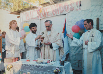 Bishop Jorge Mario Bergoglio, now Pope Francis, celebrating Mass in a poor neighborhood of Buenos Aires, 1998