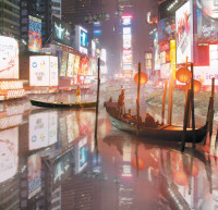 'Times Square Flooded'; from the 'Aqualta' series by the architectural firm Studio Lindfors, whose renderings imagine how New York and Tokyo might adapt to allow rising sea levels to enter the cities
