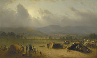 Sanford Robinson Gifford: Camp of the Seventh Regiment, near Frederick, Maryland, July, 1863, 18 x 30 inches, 1864.
