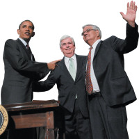 President Barack Obama with Senator Christopher Dodd and Representative Barney Frank after signing the Dodd-Frank Wall Street Reform and Consumer Protection Act, Washington, D.C., July 21, 2010