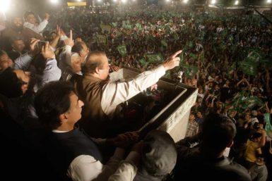 Nawaz Sharif, Pakistan's presumptive prime minister, campaigning in Lahore, Pakistan, May 9, 2013