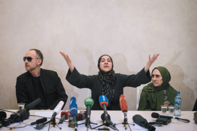 From left: Anzor Tsarnaev and Zubeidat Tsarnaev, the parents of the alleged Boston bombers, and Patimam Suleimanova, their aunt, at a press conference, Makhachkala, Russia, April 25, 2013