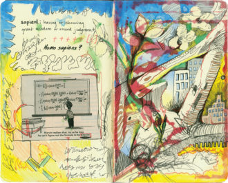 Emily L. Williams: Popularity, mixed media collage, 2008; from the book Drawing Autism, a collection of work by more than fifty artists with autism. Edited by Jill Mullin and with an introduction by Temple Grandin, it will be published in a new edition by Akashic Books in 2014.