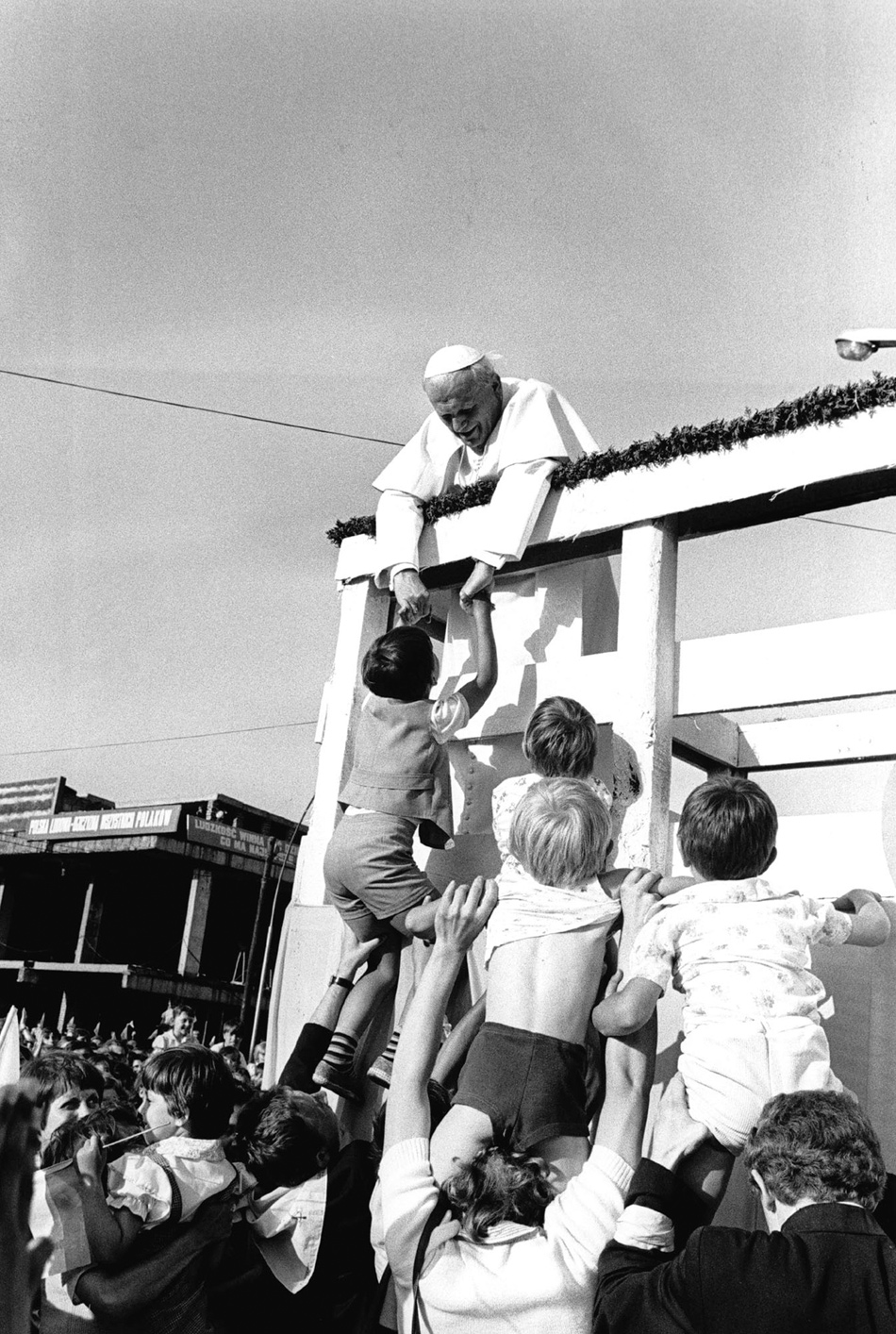Pope John Paul II with a group of children in Czestochowa during his first papal visit to Poland, June 1979