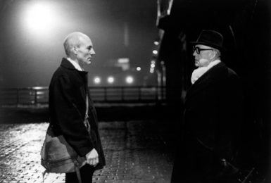 Patrick Stewart as the Soviet spymaster Karla and Alec Guinness as the British spy George Smiley in the BBC's adaptation of John le Carré's novel Smiley's People, 1982
