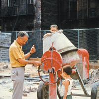 Albert Hirschman visiting his son-in-law Alain Salomon's architectural project to develop a small park for children on the Lower East Side of Manhattan, 1971