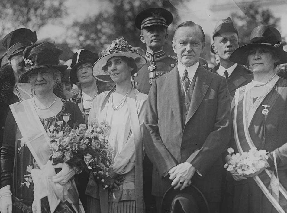 Grace and Calvin Coolidge, center, with Mrs. Alfred Brousseau, president-general of the Daughters of the American Revolution, and Mrs. Josiah Van Orsdel, national president of the Children of the American Revolution, at the White House, late 1920s