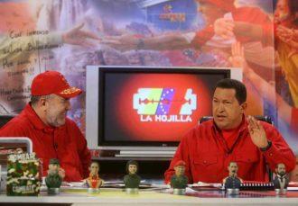Former Venezuelan President Hugo Chávez (right) with television presenter Mario Silva on the set of La Hojilla in Caracas, November 24, 2007