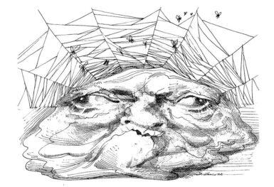J. Edgar Hoover; drawing by David Levine