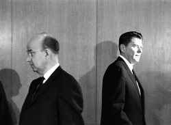 Clark Kerr and Ronald Reagan leaving the meeting of the University of California's board of regents at which Kerr was fired from his position as president of the university at Reagan's insistence, Berkeley, January 1967