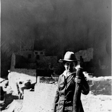 Willa Cather at the Cliff Palace, Mesa Verde, Colorado, 1915
