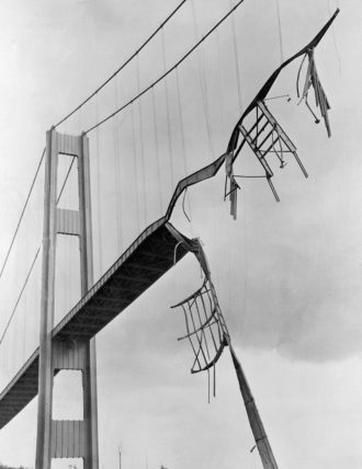 The Tacoma Narrows Bridge in Washington State, which collapsed in high winds shortly after it was built, November 1940