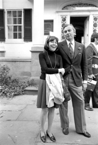 Gore Vidal with The New York Review's founding co-editor Barbara Epstein, 1974
