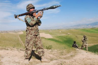 An Afghan National Army soldier during an operation against Taliban fighters in Badakhshan Province, Afghanistan, July 9, 2013