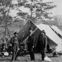 Alexander Gardner: <i>The President [Abraham Lincoln], Major General John A. McClernand [right], and E.J. Allen [Allan Pinkerton, left], Chief of the Secret Service of the United States, at Secret Service Department, Headquarters Army of the Potomac, Near Antietam</i>, October 4, 1862