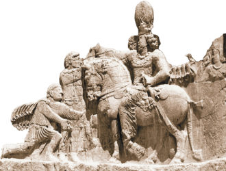 A relief depicting the triumph of the Sassanian Emperor Shapur I over the Roman emperors Valerian and Philip the Arab, one of seven large reliefs showing Sassanian monarchs at Naqshe-e Rustam, Iran, third century CE