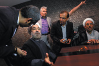 Hassan Rouhani, two weeks before he won Iran's presidential elections, speaking to his advisers before appearing at a campaign rally, Tehran, May 30, 2013