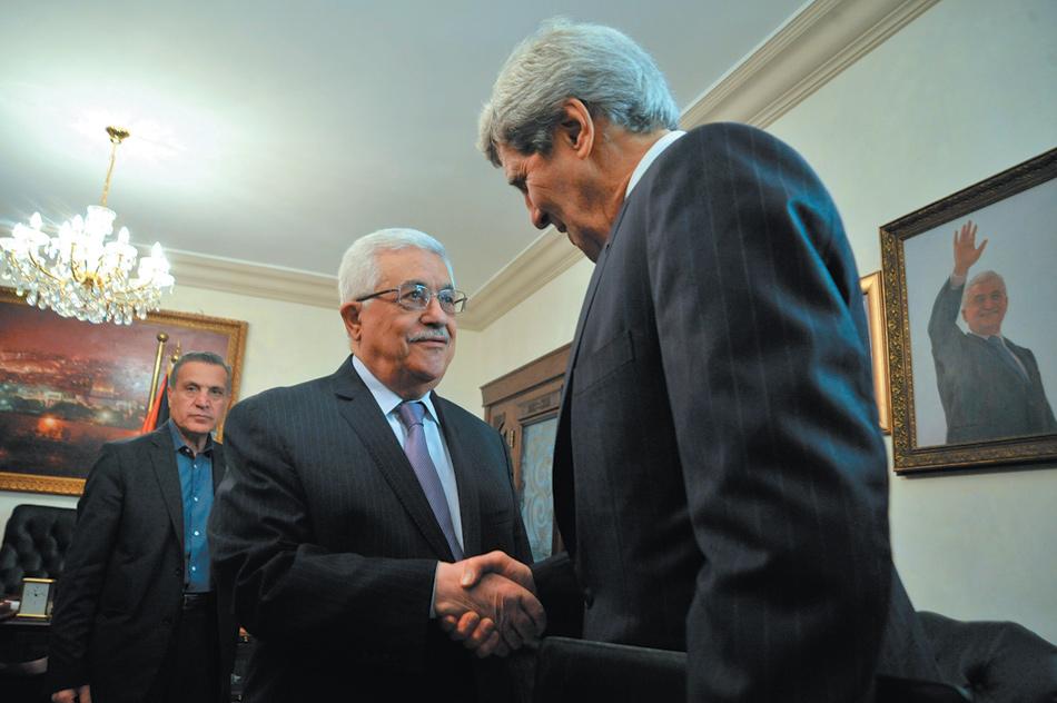 Secretary of State John Kerry with Palestinian President Mahmoud Abbas, Amman, Jordan, June 29, 2013