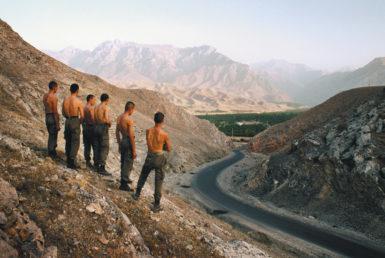 An Uzbek patrol in the Fergana Valley, on the Uzbekistan–Kyrgyzstan border, 2002