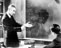 Robert Oppenheimer lecturing Edward R. Murrow on physics, Princeton, 1954